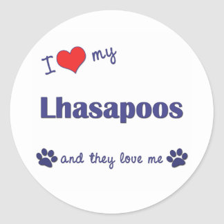 I Love My Lhasapoos (Multiple Dogs) Classic Round Sticker