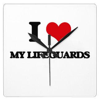 I Love My Lifeguards Square Wallclocks