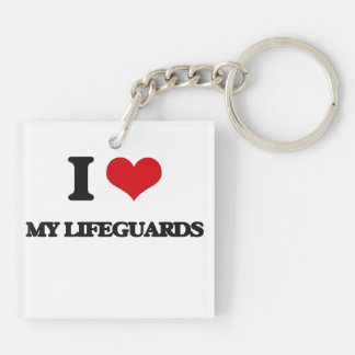 I Love My Lifeguards Square Acrylic Key Chains