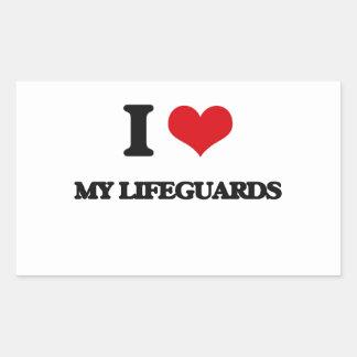 I Love My Lifeguards Rectangular Stickers