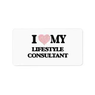 I love my Lifestyle Consultant (Heart Made from Wo Address Label