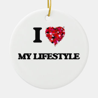 I Love My Lifestyle Double-Sided Ceramic Round Christmas Ornament