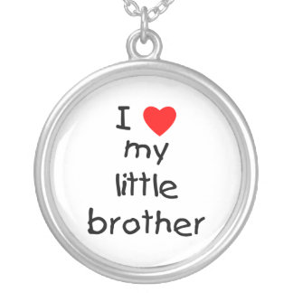 I Love My Little Brother Round Pendant Necklace