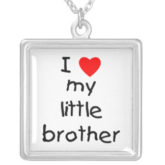 I Love My Little Brother Square Pendant Necklace