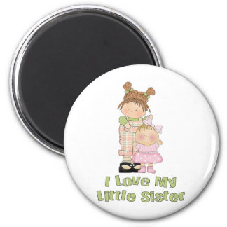 I Love My Little Sister Girls Magnet