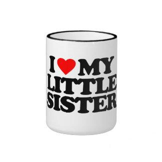 I LOVE MY LITTLE SISTER RINGER COFFEE MUG