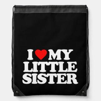 I LOVE MY LITTLE SISTER DRAWSTRING BACKPACK