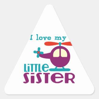 I love my Little Sister Triangle Sticker