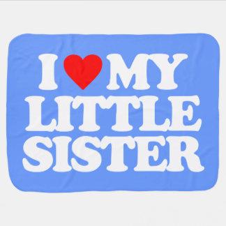 I LOVE MY LITTLE SISTER RECEIVING BLANKETS