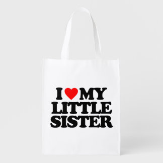 I LOVE MY LITTLE SISTER MARKET TOTES