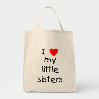 I Love My Little Sisters Canvas Bags