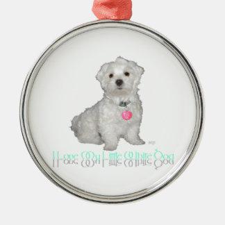 I Love My Little White Dog - Maltese Christmas Ornaments