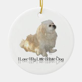 I Love My Little White Dog - Pekingese ! Ceramic Ornament