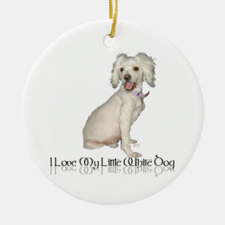 I Love My Little White Dog - Poodle / Bichon Mix Double-Sided Ceramic Round Christmas Ornament