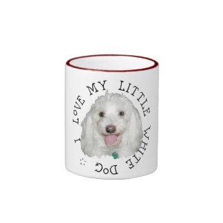 I Love My Little White (Rescue) Dog Ringer Mug