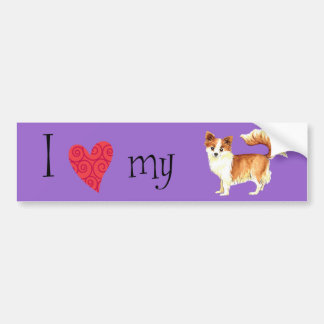 I Love my Long Coat Chihuahua Bumper Sticker