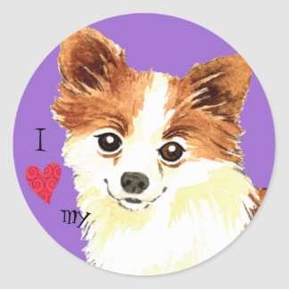 I Love my Long Coat Chihuahua Classic Round Sticker
