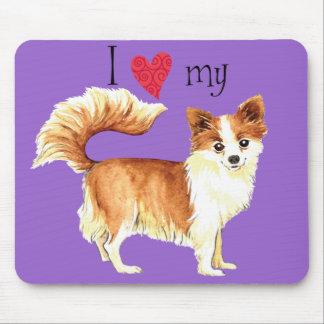 I Love my Long Coat Chihuahua Mouse Pad