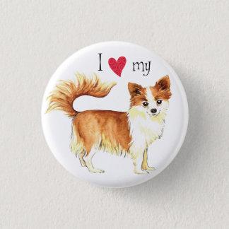 I Love my Long Coat Chihuahua Pinback Button
