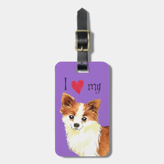 I Love my Long Coat Chihuahua Tag For Luggage