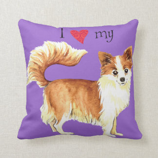 I Love my Long Coat Chihuahua Throw Pillow