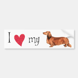 I Love my Longhaired Dachshund Bumper Stickers