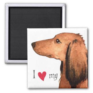 I Love my Longhaired Dachshund Magnet