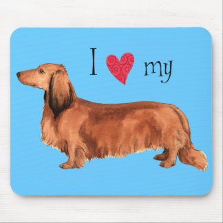 I Love my Longhaired Dachshund Mouse Pad