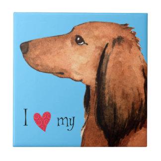 I Love my Longhaired Dachshund Tile