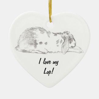 I love my lop! Bunny pencil sketch onrament. Christmas Tree Ornaments