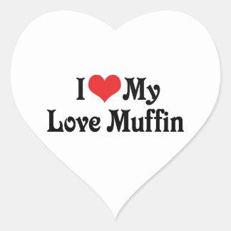 I Love My Love Muffin Heart Sticker