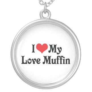 I Love My Love Muffin Silver Plated Necklace