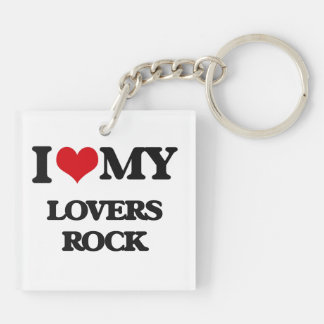 I Love My Love MyRS ROCK Double-Sided Square Acrylic Keychain