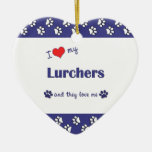 I Love My Lurchers (Multiple Dogs) Christmas Ornament