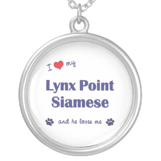 I Love My Lynx Point Siamese (Male Cat) Round Pendant Necklace