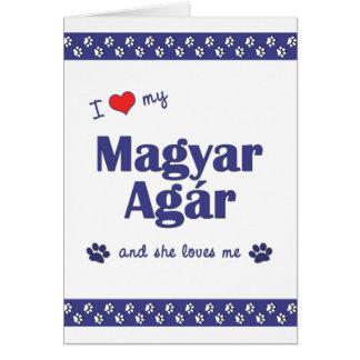 I Love My Magyar Agar (Female Dog) Stationery Note Card
