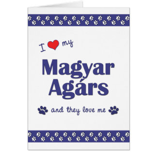 I Love My Magyar Agars (Multiple Dogs) Stationery Note Card