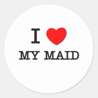 I Love My Maid Round Stickers
