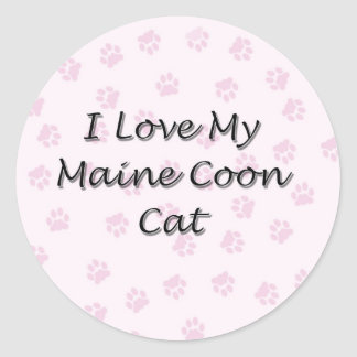 I Love My Maine Coon Cat Classic Round Sticker
