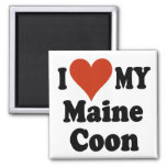 I Love My Maine Coon Cat Gifts and Apparel 2 Inch Square Magnet