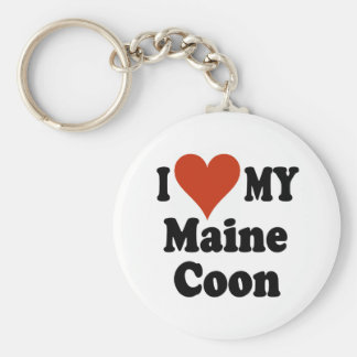 I Love My Maine Coon Cat Gifts and Apparel Key Chains