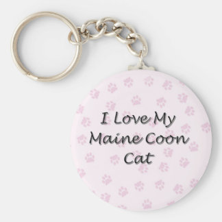 I Love My Maine Coon Cat Keychain