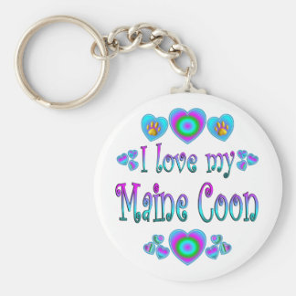 I Love My Maine Coon Cat Keychains