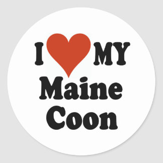 I Love My Maine Coon Cat Merchandise Round Stickers