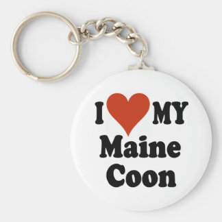 I Love My Maine Coon Keychain
