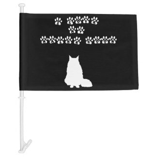 I Love My Maine Coon--White Text Car Flag