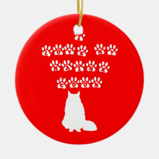 I Love My Maine Coon--White Text Ceramic Ornament