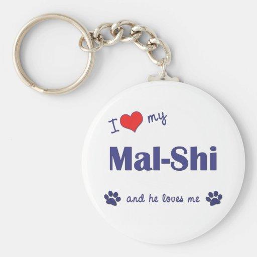 I Love My Mal-Shi (Male Dog) Basic Round Button Keychain