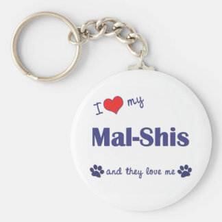 I Love My Mal-Shis (Multiple Dogs) Basic Round Button Keychain