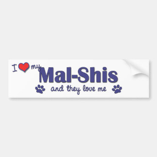 I Love My Mal-Shis (Multiple Dogs) Car Bumper Sticker